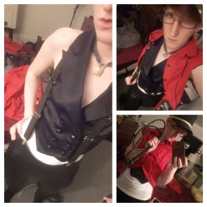 three photos of Taylor. Left, in leather pants, a white shirt, and a fancy black vest with black suspenders. Right top, same outfit plus an unbuttoned red waistcoat. Right bottom, same outfit, waistcoat buttoned up, a large hat, and holding a bullwhip