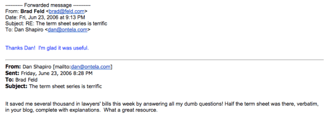 First Email Between Shapiro and Feld