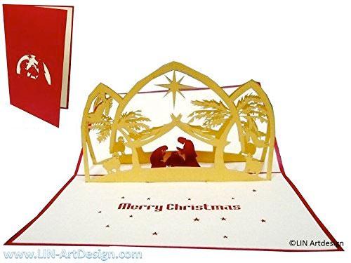 Felicitación de navidad religiosa con portal de Belén