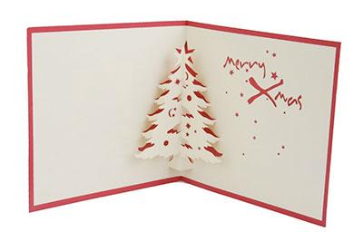 Tarjeta de navidad artesanal con arbol de navidad desplegable