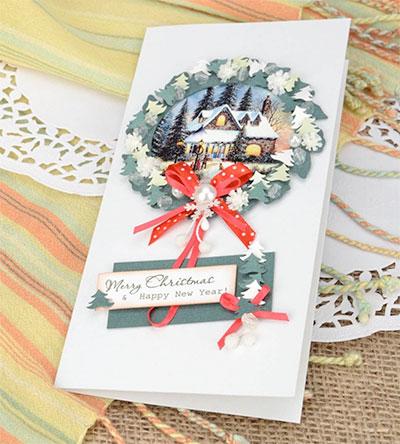 Tarjeta de navidad hecha a mano bonita