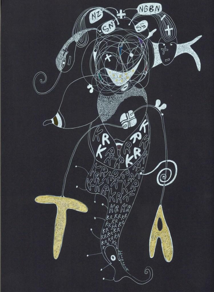 Precious Thing @ TA KURU code NGBNNZSSSN 42 X 297 cm 2017 dessin sur papier canson noir Ernest Dükü