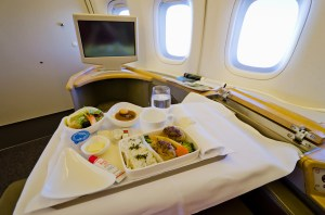 Dinner in the air - Teriyaki steak, vegetables and rice