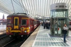 Old train in Belgium in modern Liège train station