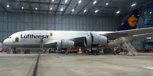Lufthansa A380 in the maintenance hangar at Frankfurt Airport.