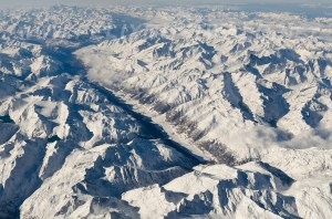 View from the air on the Aosta Valley and Mont Blanc