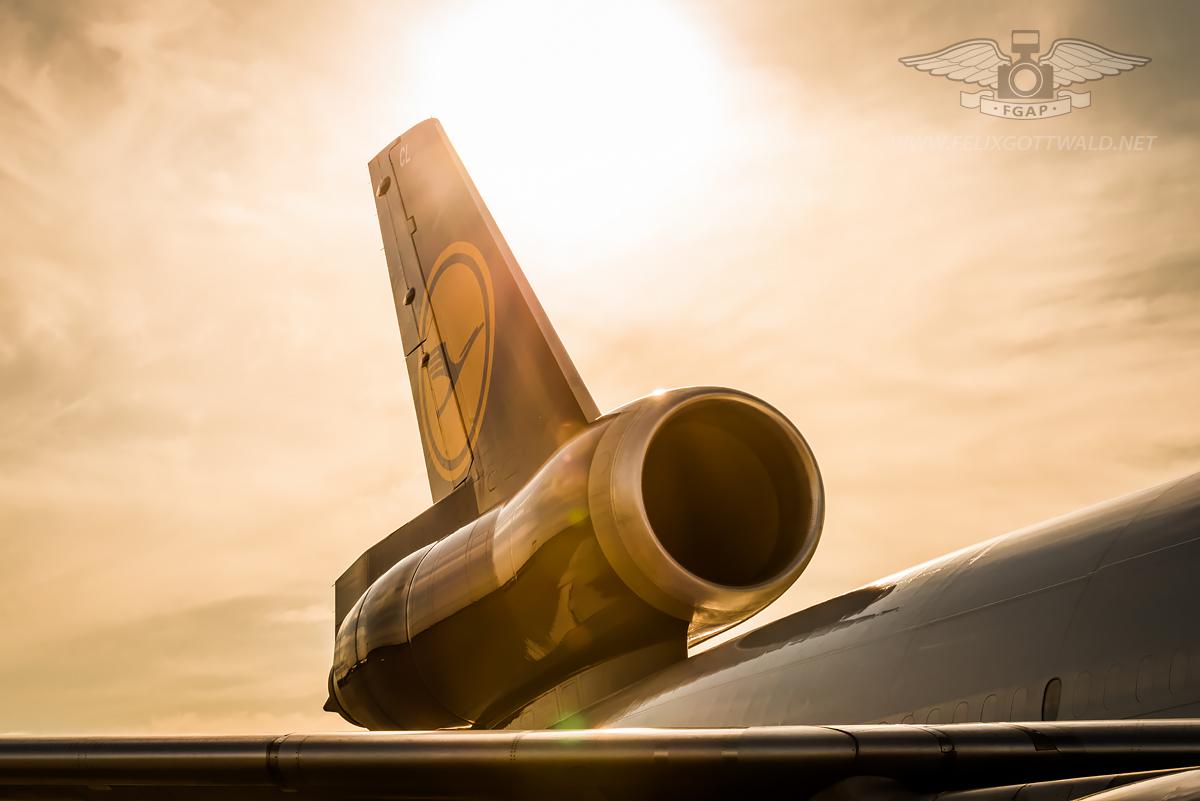 Lufthansa Cargo - McDonnell Douglas MD-11 freighter D-ALCL Frankfurt sunset tail