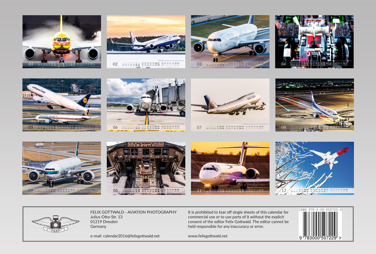 Calendar sheet overview - BOEING Aviation Calendar 2016