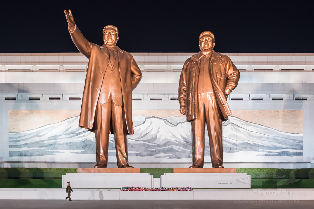 Pyongyang Kim Il Sung and Kim Jong Il memorial site at Mansu Hill Grand Monument Mansudae
