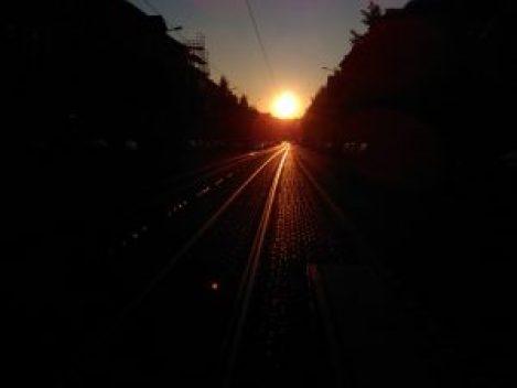 Die Sonne geht am 22. Juni 2016 fast parallel zur Ludwig-Wucherer-Straße in Halle unter. Foto: XKN
