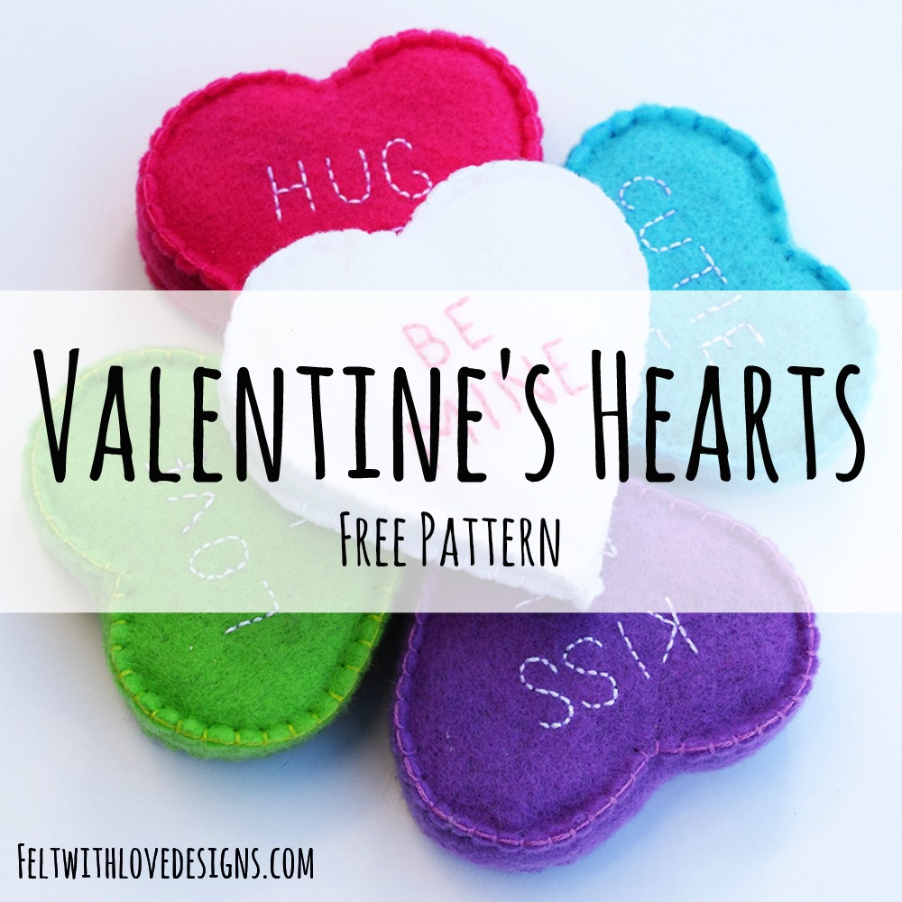 Free sewing pattern: Cconversation heart plushies