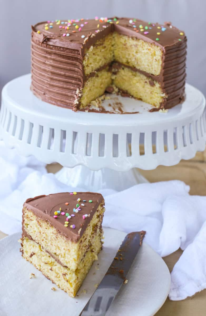 9 Ingredient Moist Yellow Cake With Chocolate Buttercream