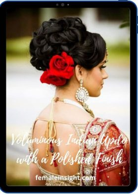 Voluminous Indian Updo with a Polished Finish min