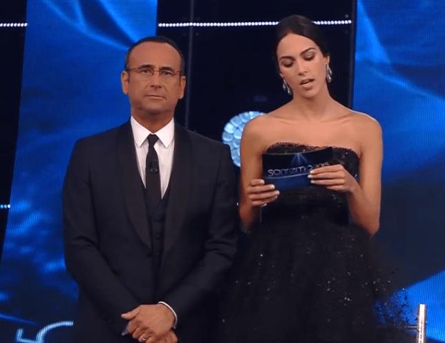 Sanremo 2015: Rocío Muñoz Morales look prima serata