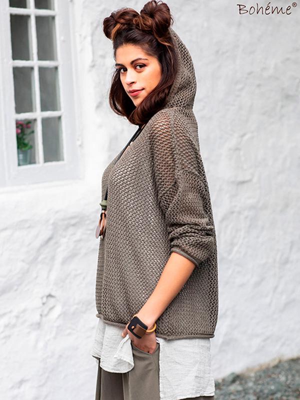 Femeia Fashion Kevät 2021 Bohemeverkkoneulehuppari oliivi B 11763
