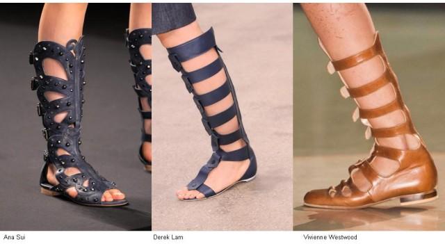 Sandalias bajas con caña alta