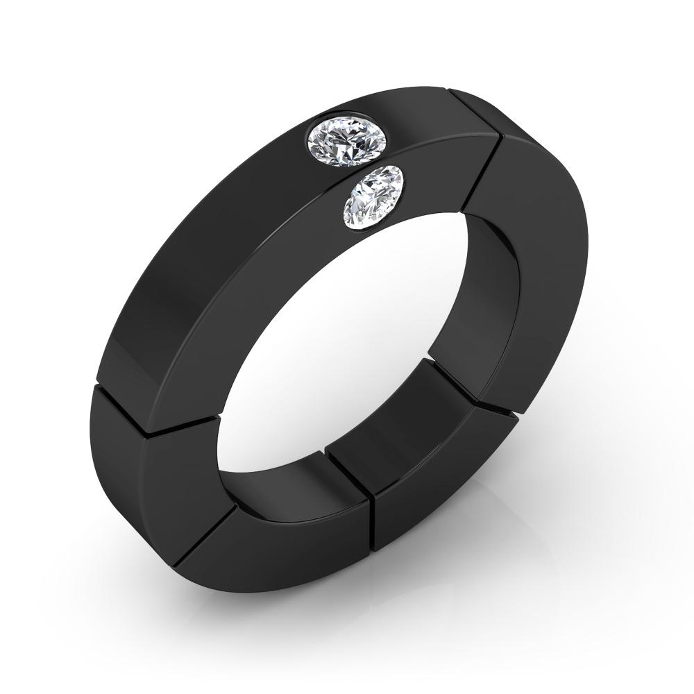 Anillo de compromiso de oro negro y diamantes