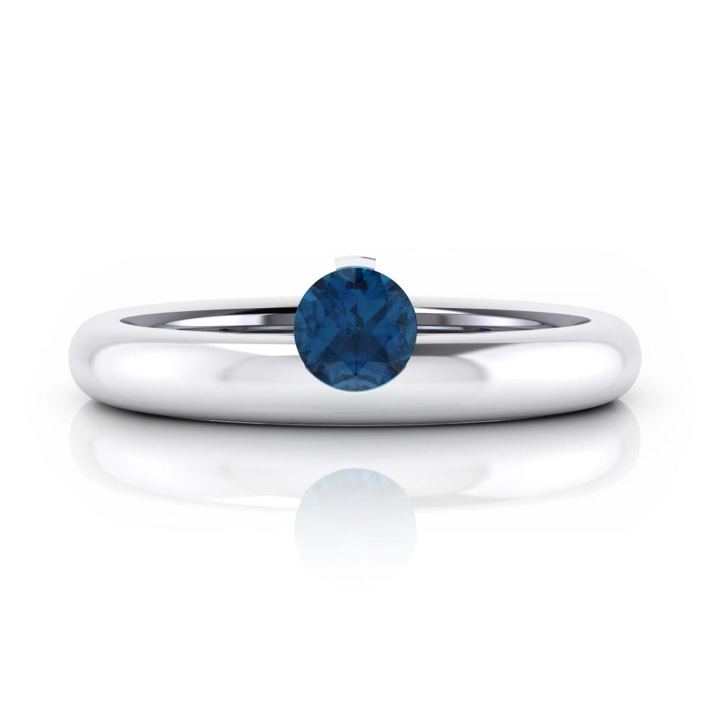 anillos de compromiso oro blanco con zafiro