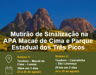 Caminho da Mata Atlântica: Multirão de Sinalização na APA Macaé de Cima e Parque Estadual dos Três Picos