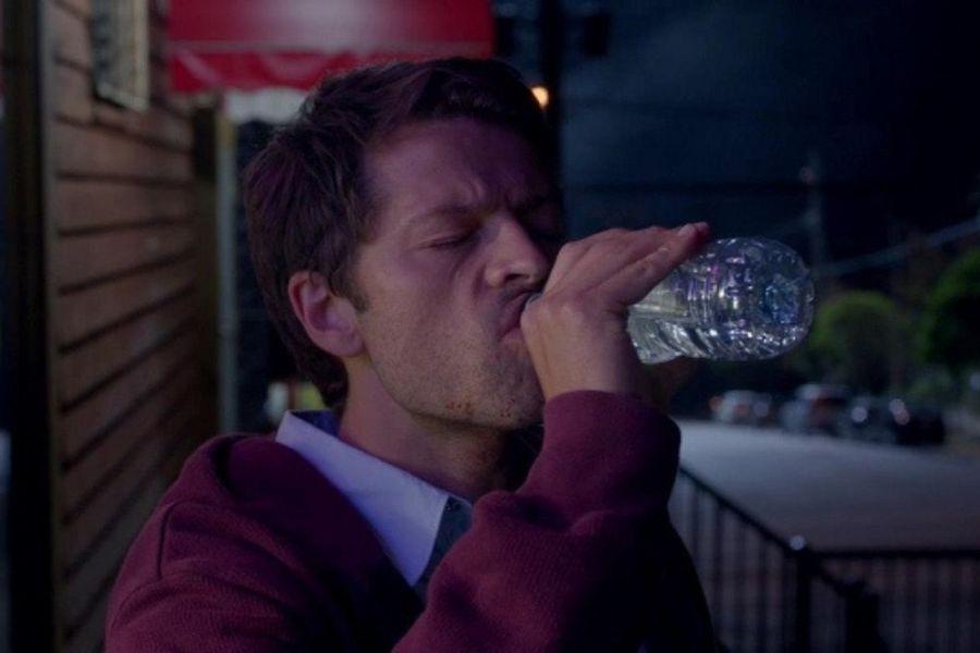 supernatural castiel drinking water