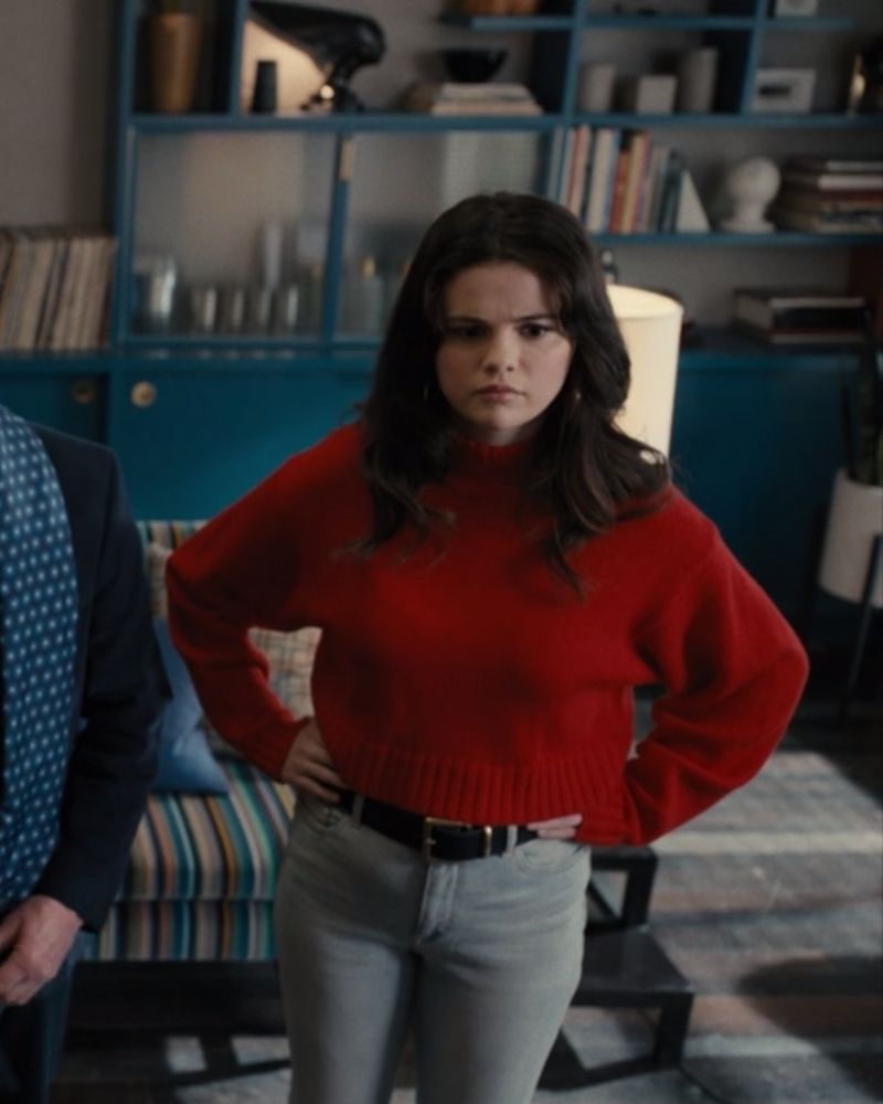 selena gomez only murders outfits red sweater