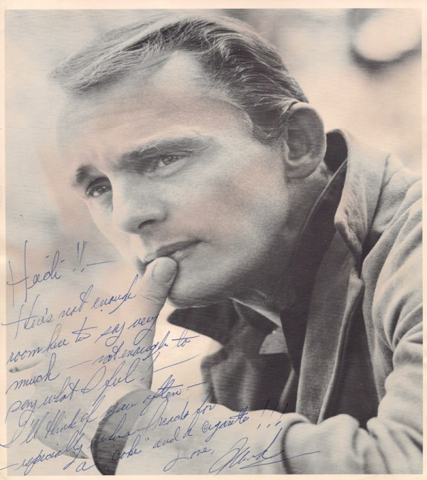 A note from Frank Gorshin. He was a rumored boyfriend of Heidi.