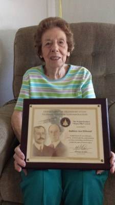 Kathleen and her Wright Brother's Award