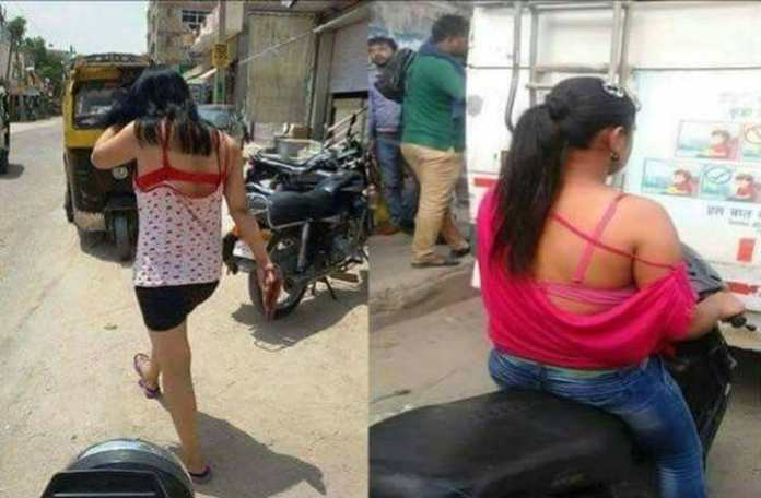 The images have been blurred since the women were photographed without their consent. Credit: Facebook
