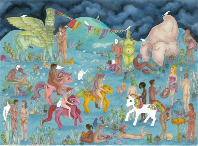Lesbians Riding Ponies by Janine Shroff