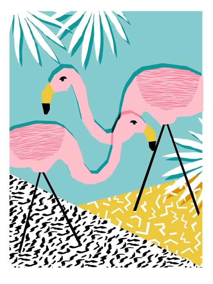 Sunday's Society6 - Wacka retro neon tropical colorful pattern pop art flamingo