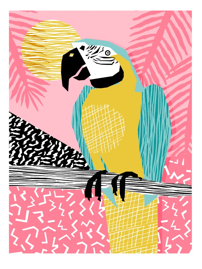 Sunday's Society6 - Wacka retro neon tropical colorful pattern pop art bird parrot