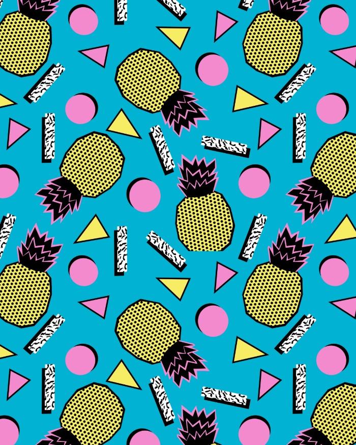 Sunday's Society6 - Wacka retro neon tropical colorful pattern pop art pineapples