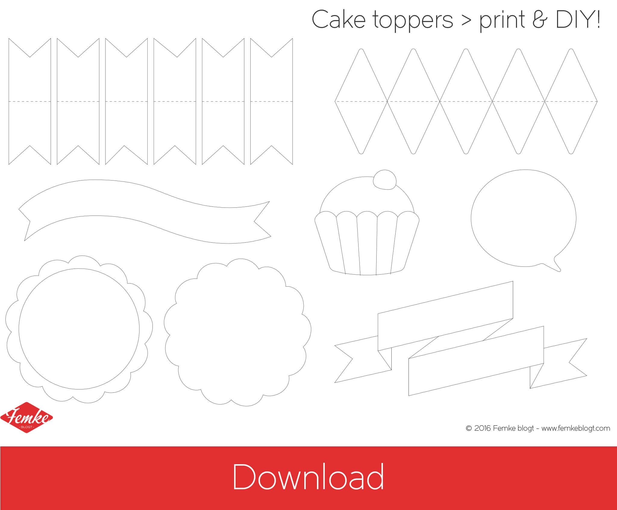Download printable DIY cake topper