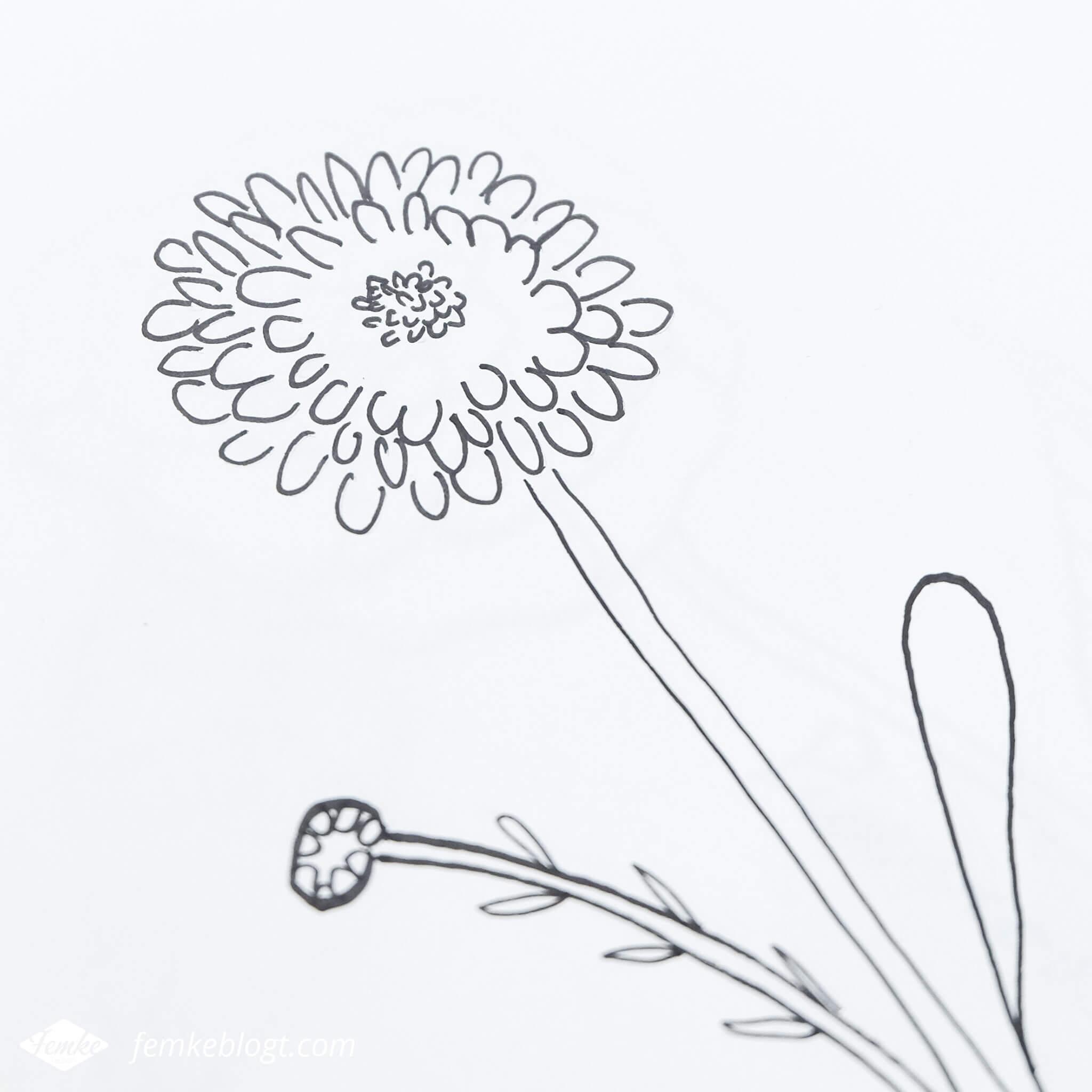 31 Dagen bloemen #3   In deel 3 van de 31 Dagen bloemen serie gaan we de chrysant tekenen