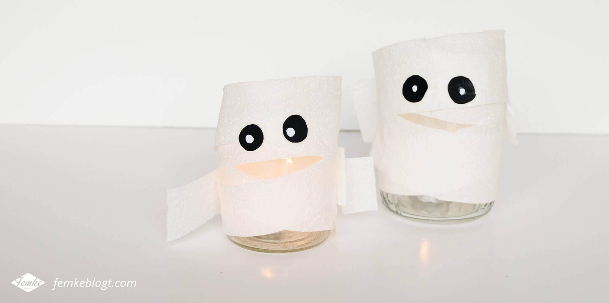 DIY Halloween decoratie | Mummies met een waxinelichtje