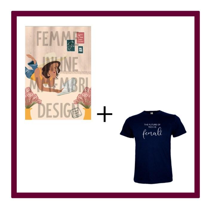 H) Il·lustració virtual Mmembridesign amb missatge + samarreta The future of tech is Female