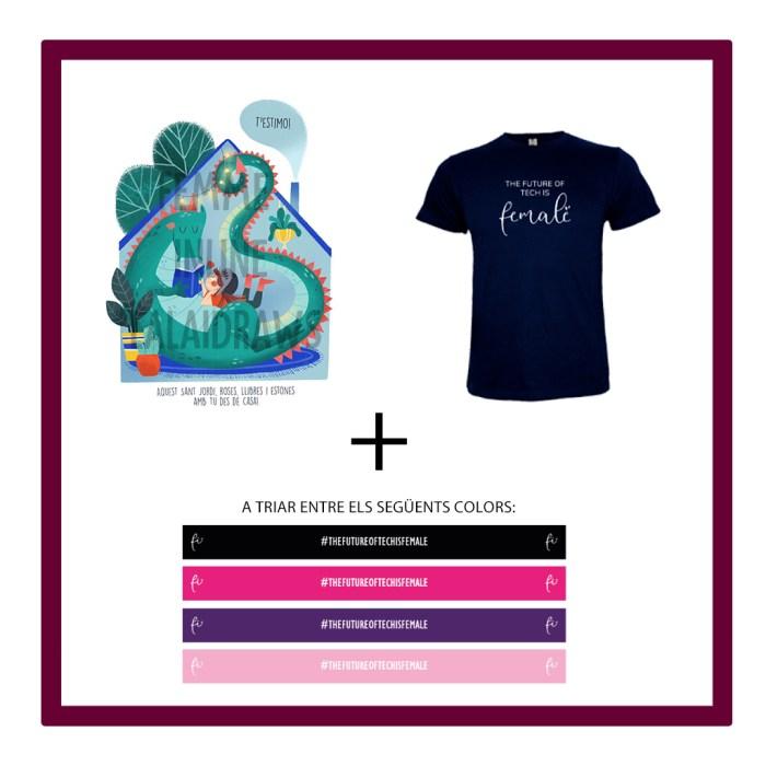 Il·lustració virtual Lalaidraw amb missatge + Polsera de tela de Femme Inline + samarreta The future of tech is Female