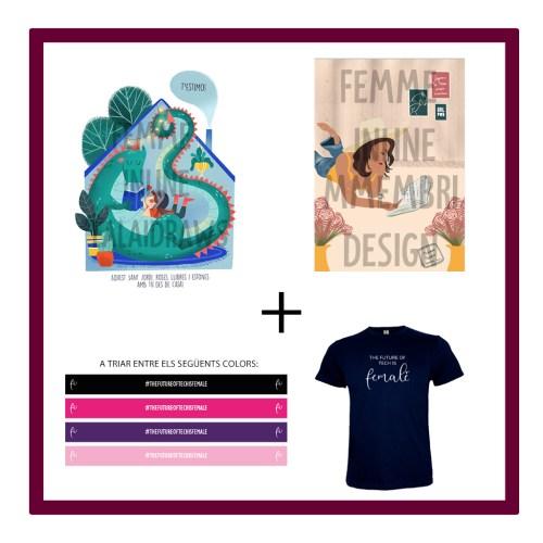 L) Dues il·lustracions virtuals amb missatge de St Jordi + Polsera de Femme Inline + samarreta The future of tech is Female