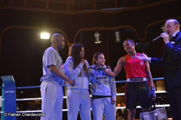 Boxing Beats - Mars 2015 - Les filles du Boxing Beats mises à l'honneur. De gauche à droite : Said Bennajem, Stelly Fergé, Sarah Ouramoune et Maily Nicar.