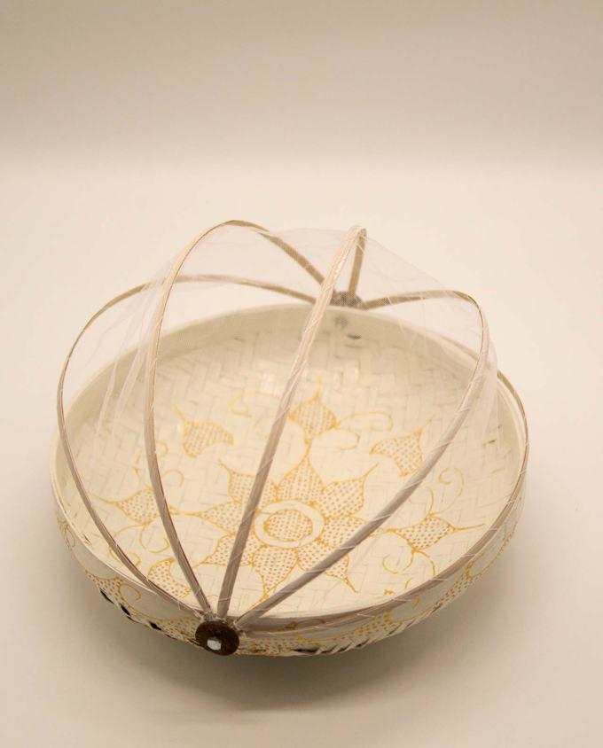 Καλάθι πιατέλα με αναδιπλώμενο τούλι, διαμέτρου 30 cm άσπρο