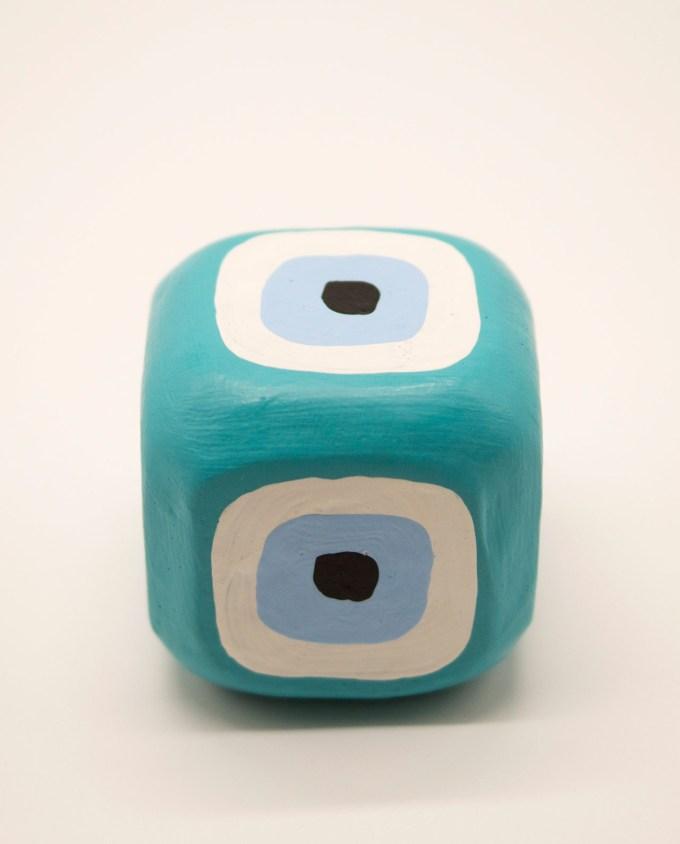 Κύβος ματάκι ξύλινος χειροποίητος 8.5 cm x 8.5 cm x 8.5 cm πετρολ
