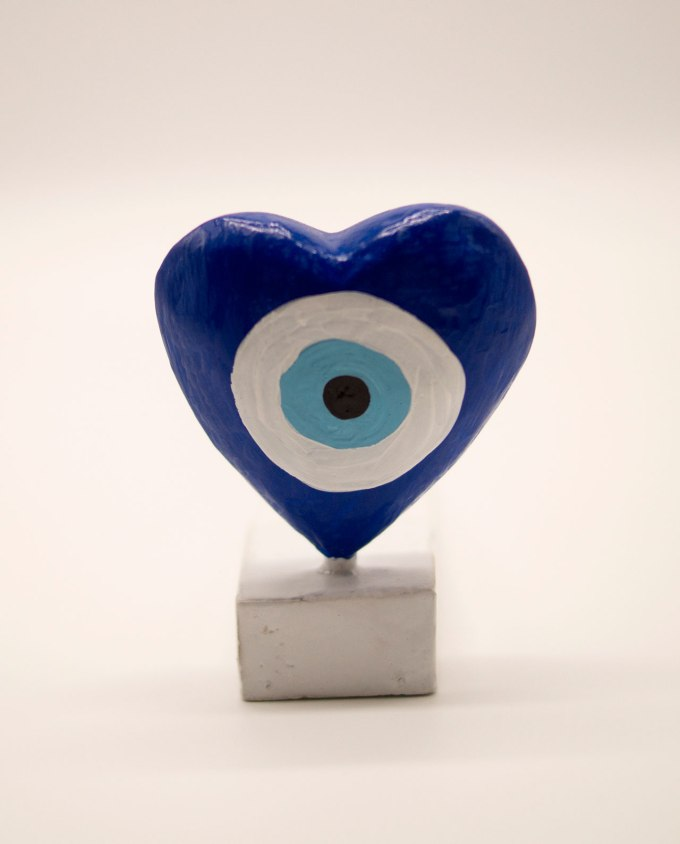 Σφήνα πόρτας ξύλινη καρδιά ματάκι μπλε