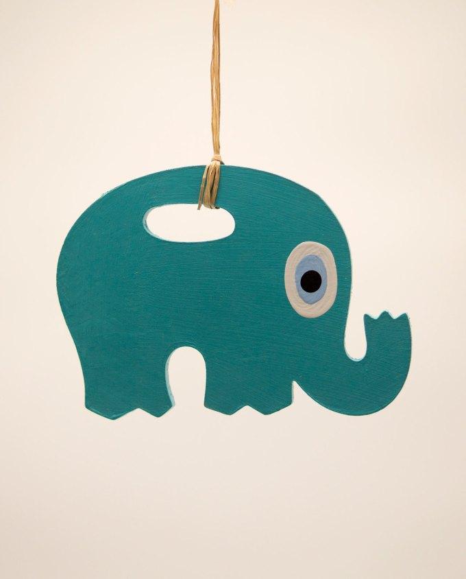 Ελέφαντας ματάκι ξύλινος χειροποίητος μήκος 18 cm πετρολ