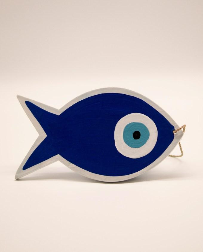 Ψάρι ματάκι ξύλινο χειροποίητο μήκος 18 cm μπλε