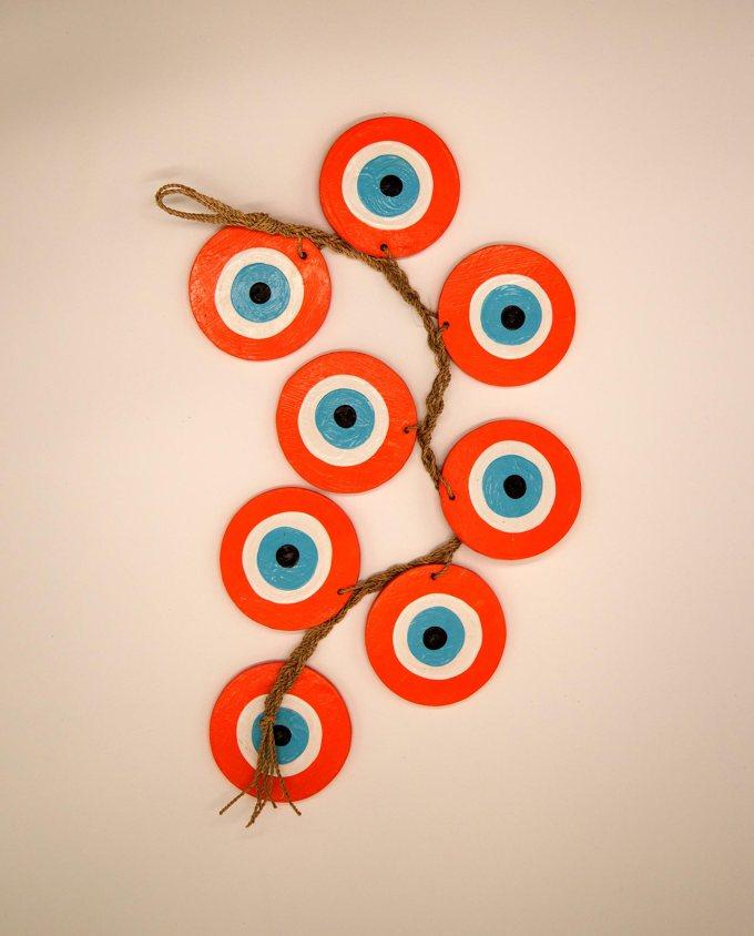 Γιρλάντα με 8 ματάκια ξύλινα χειροποίητα, μήκος 50 cm πορτοκαλί