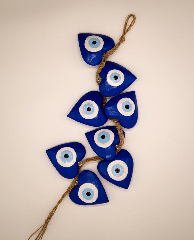 Γιρλάντα 8 καρδιές ματάκι χειροποίητες ξύλινες, μήκος 50 cm μπλε