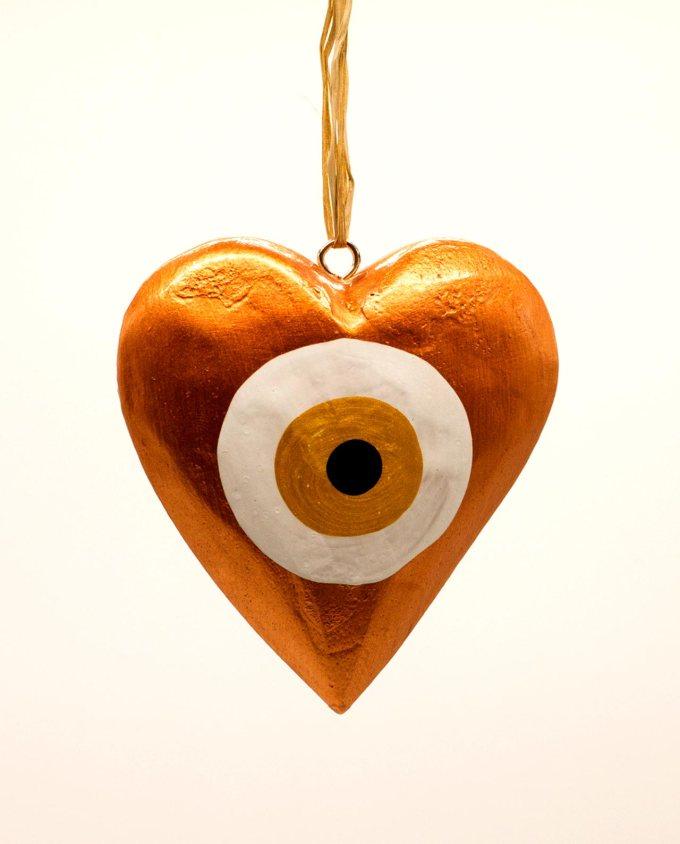 Καρδιά ματάκι ξύλινη χειροποίητη διαμέτρου 10 cm χάλκινο χρυσό