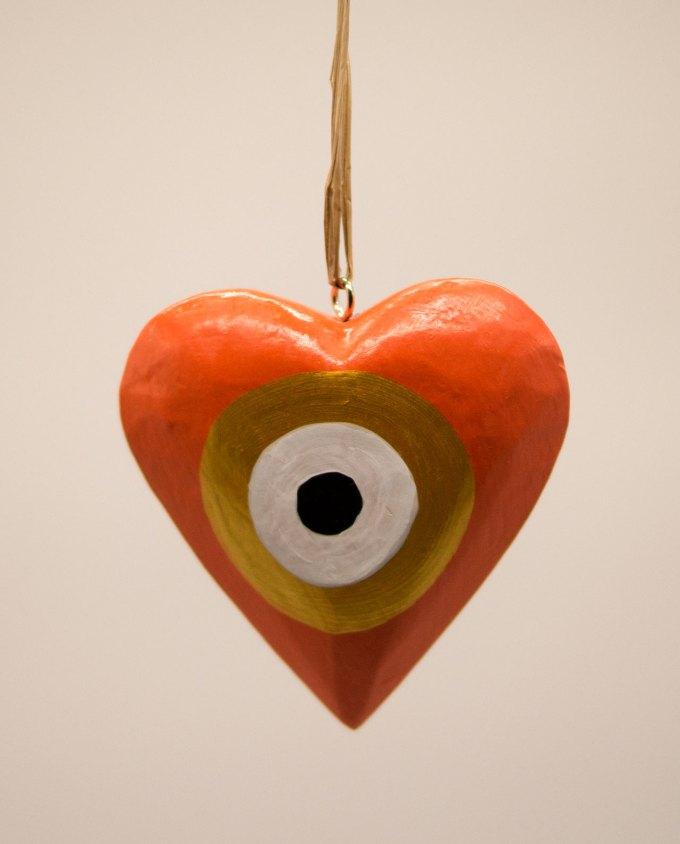 Καρδιά ματάκι ξύλινη χειροποίητη διαμέτρου 10 cm πορτοκαλί χρυσό