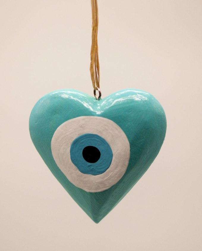 Καρδιά ματάκι ξύλινη χειροποίητη διαμέτρου 10 cm τιρκουαζ