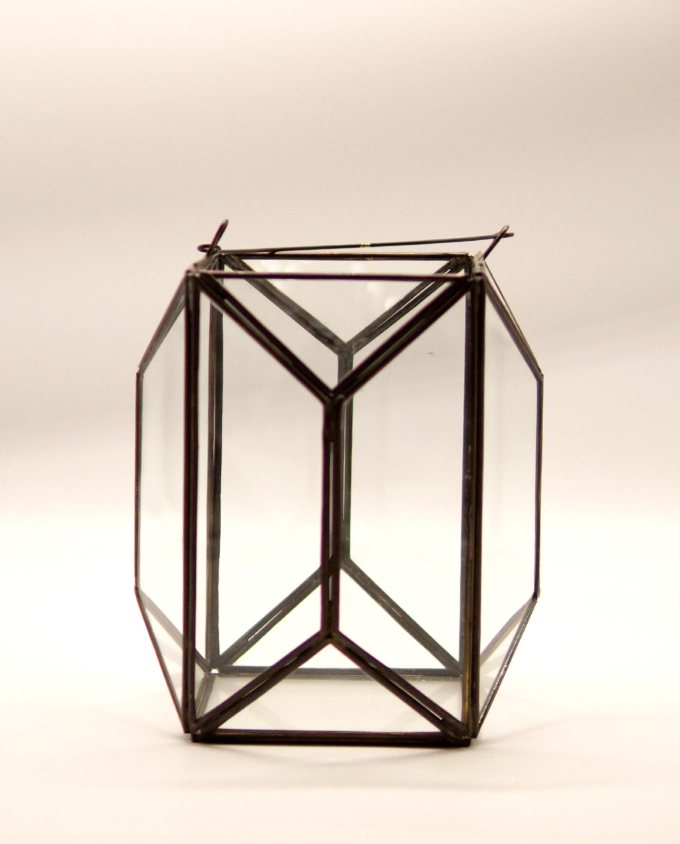 "Lantern ""Polygon"" copper & glass handmade height 20 cm color brown antique"